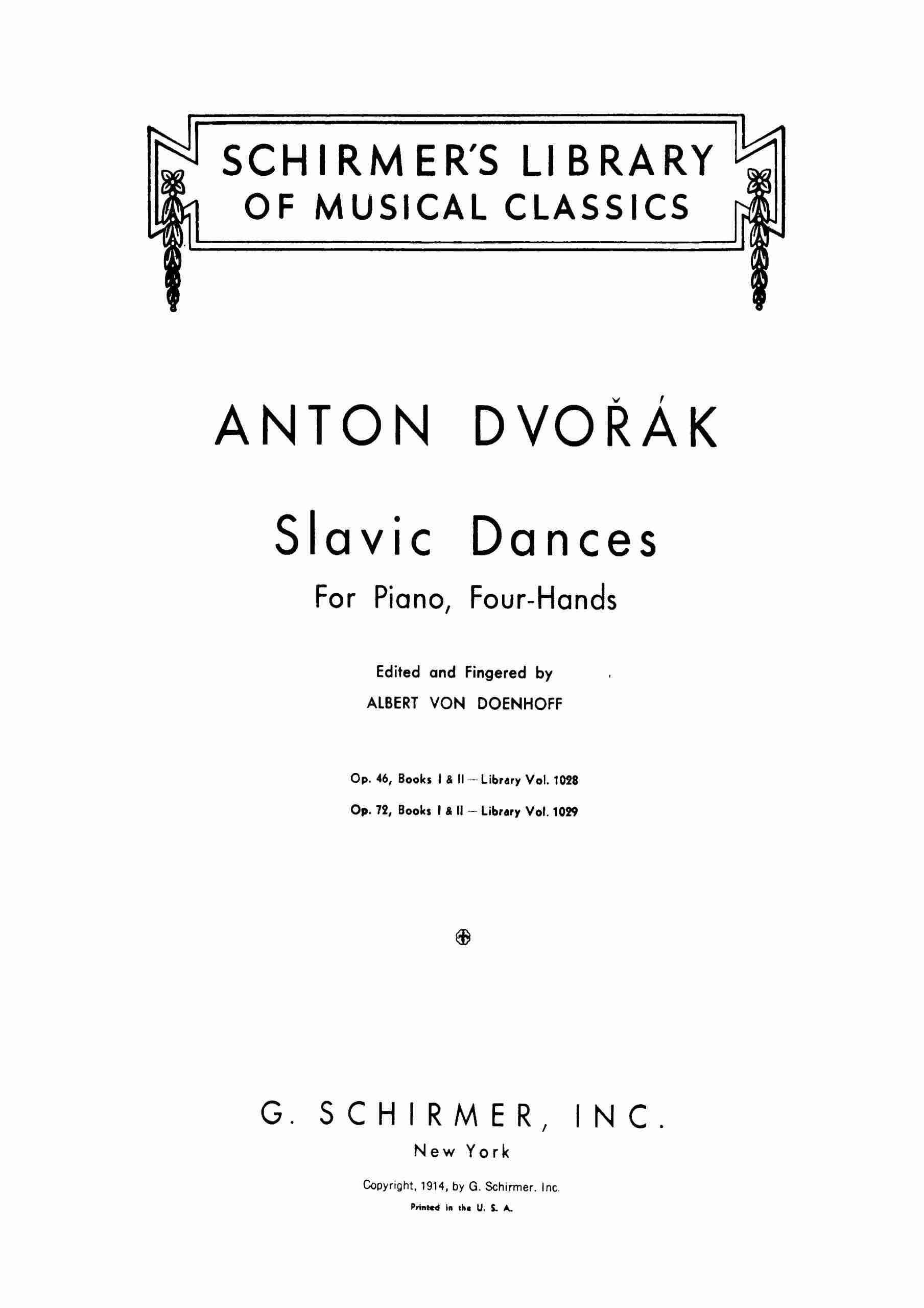 Dvorak - Slavonic Dances, Op.46 - Piano Duet