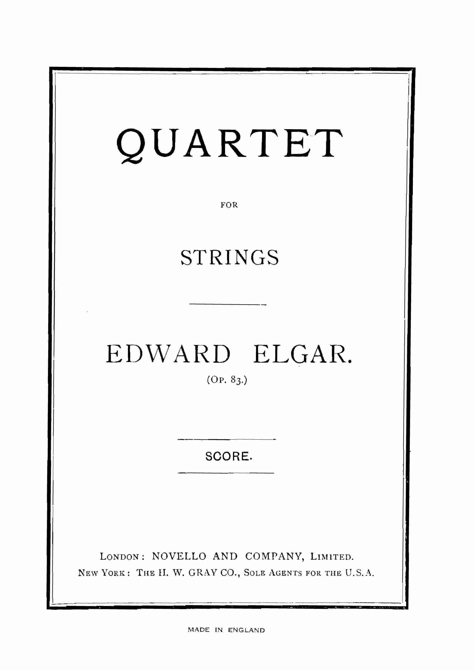 Elgar - String Quartet, Op.83 - Score