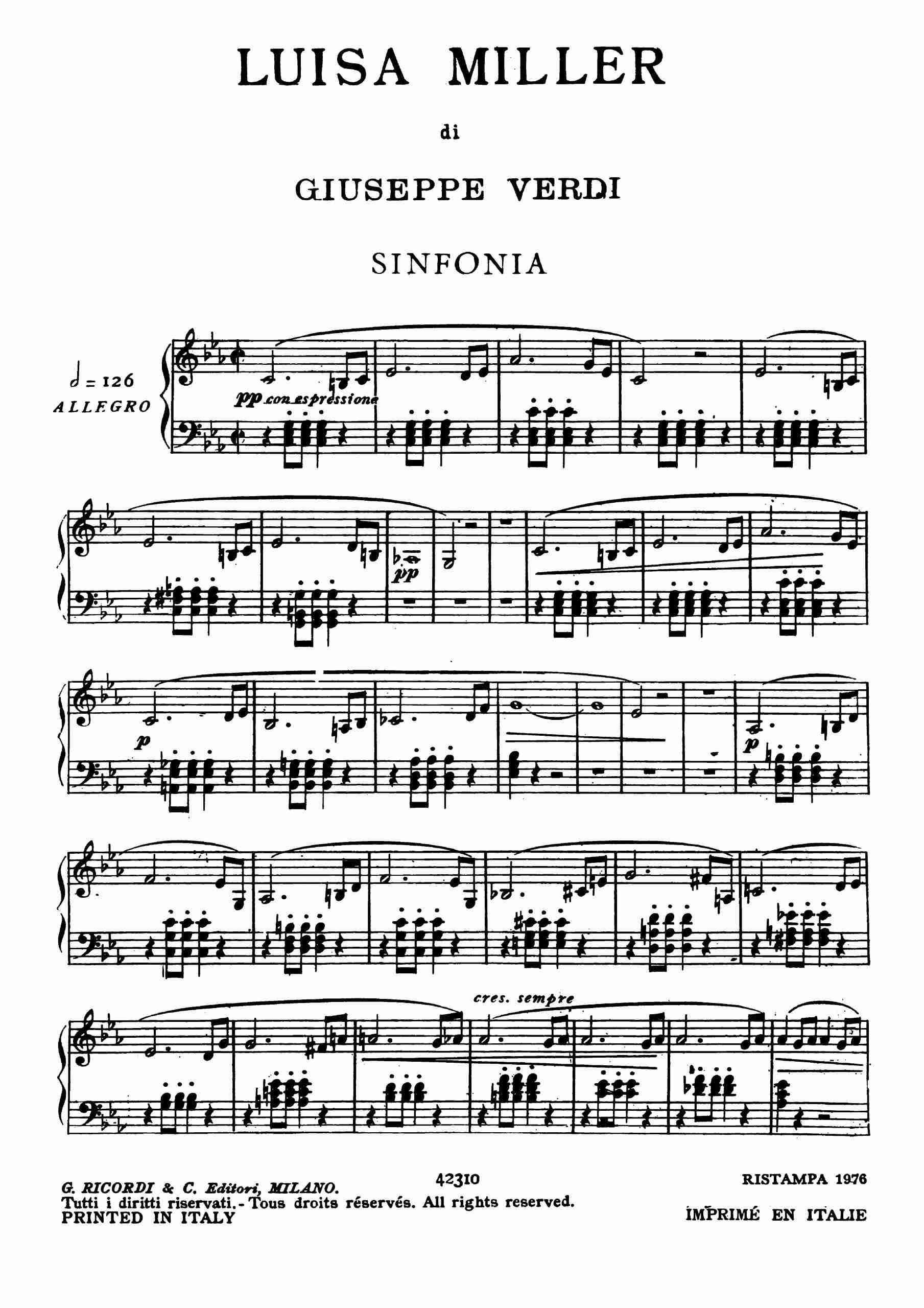 Verdi - Luisa Miller - Vocal Score
