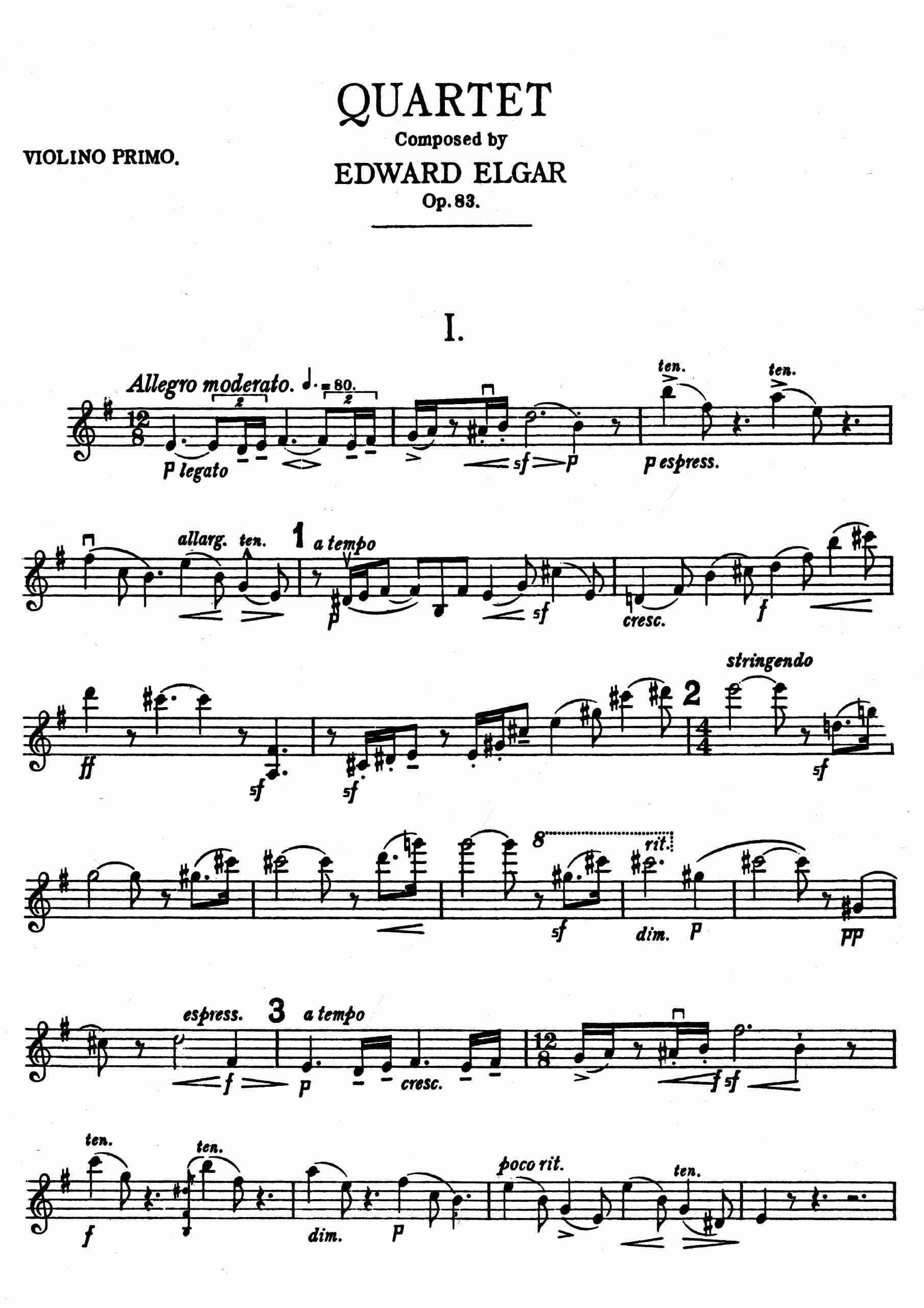 Elgar - String Quartet, Op.83 - Complete parts