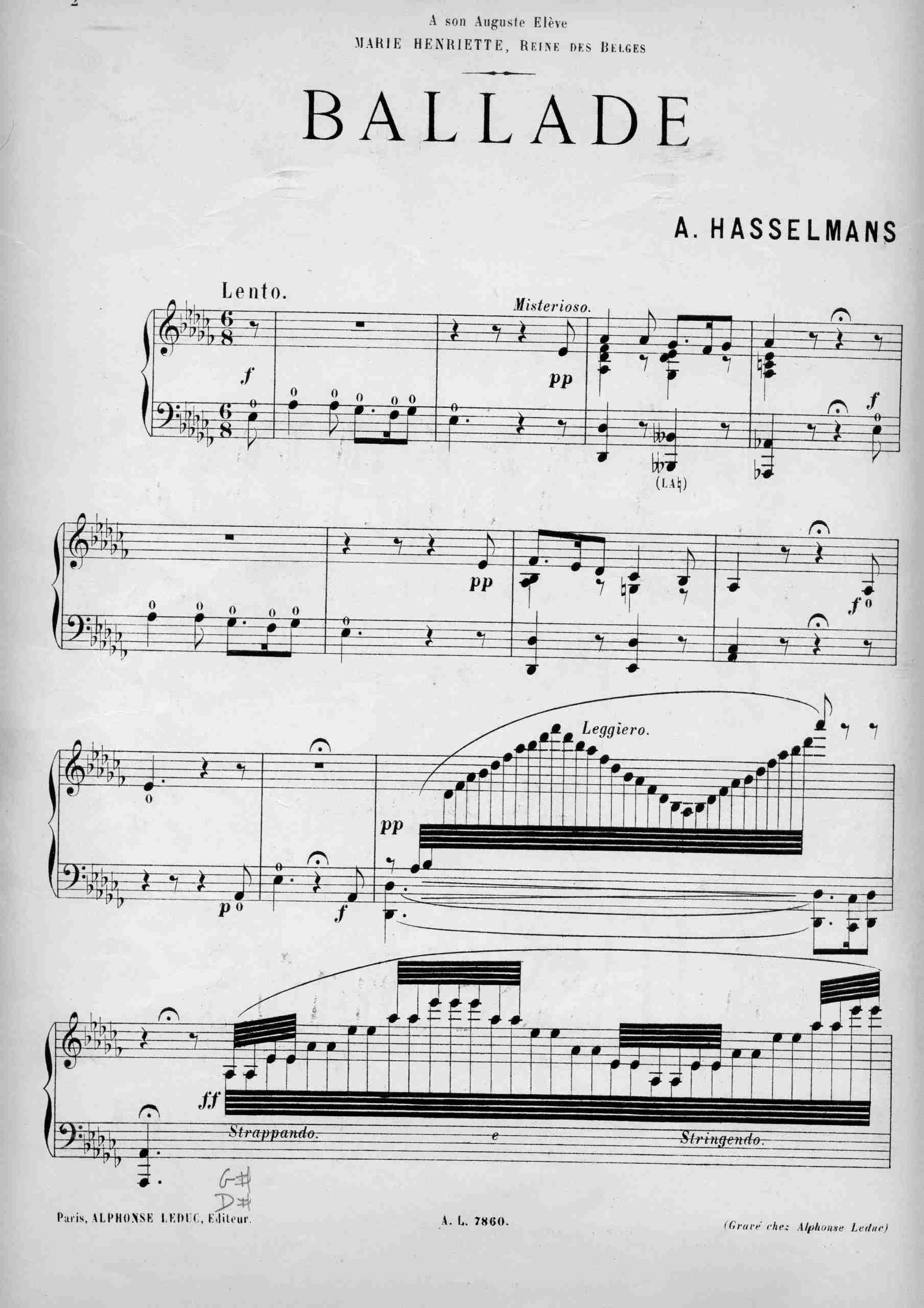 Hasselmans, Alphonse - Ballade