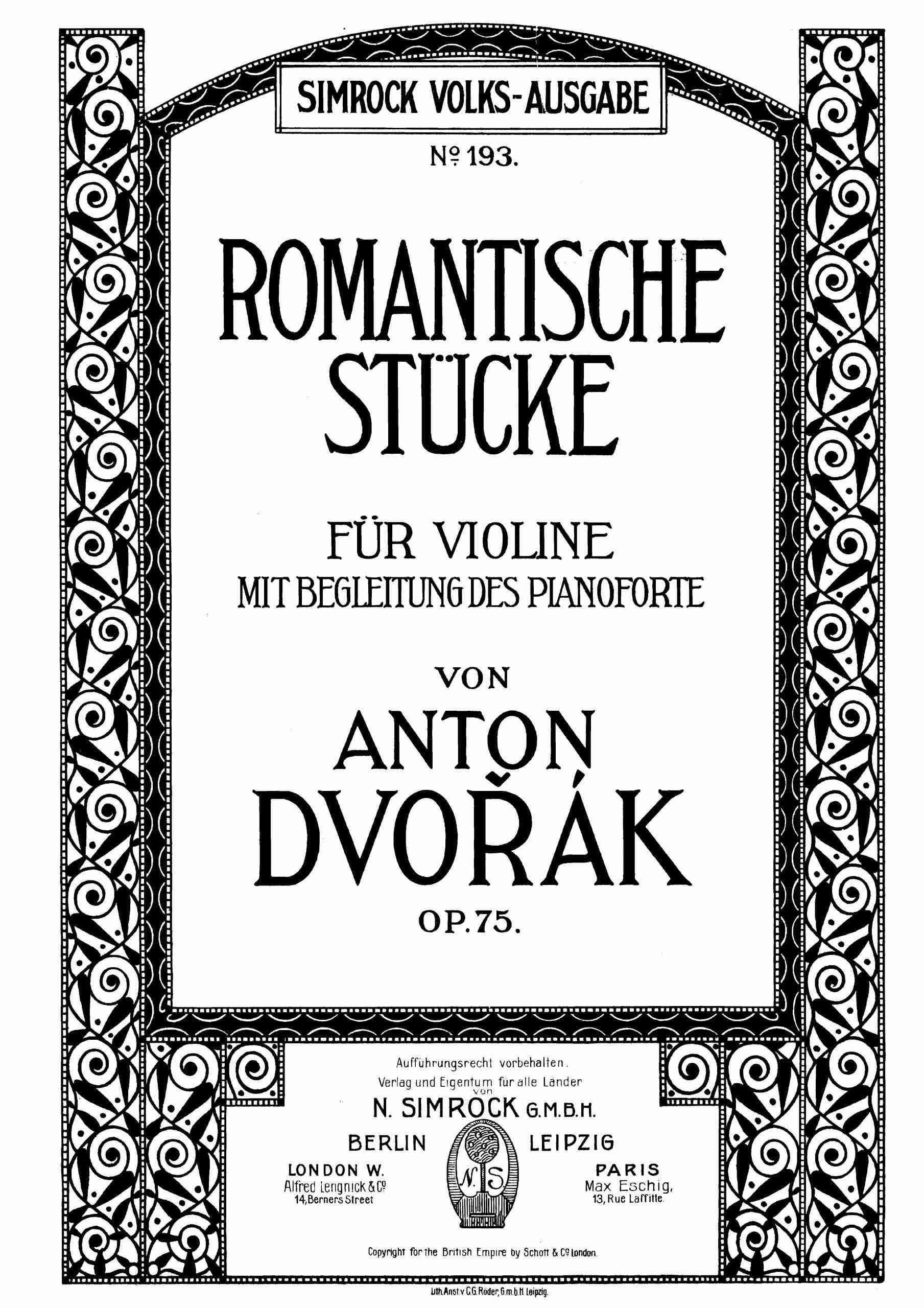 Dvořák, Antonín - 4 Romantic Pieces, Op.75 - Piano